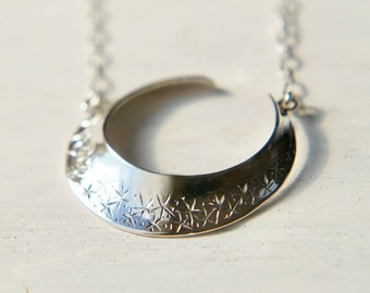 Silver Moon Necklace, Sterling Silver Crescent Pendant, Hand Engraved Japan Jewelry