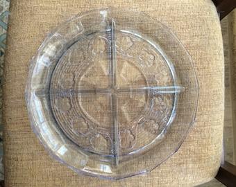 1960s Anchor Hocking Avalon Blue 4-Part Relish Dish Platter Tray