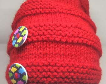 Slouchy Hat, Knit Pom Pom Hat with buttons, Slouchy Winter Hat in Red, Winter Hat