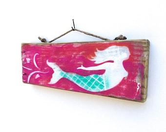 Personalize This Original Art Item-Mermaid Art Handmade on Reclaimed Wood-Mangoseed