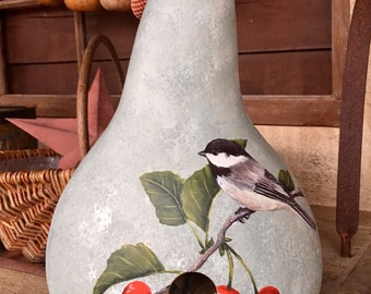 Chickadee and Cherries Gourd Birdhouse