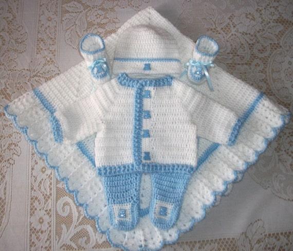Baby Boy Blue And White Crochet Layette Sweater Set Leggings