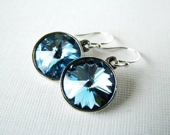 Aqua Luxury - Swarovski Rivoli Rhinestone Drop Earrings in Aqua Blue - Something Blue in Silver Plated Settings