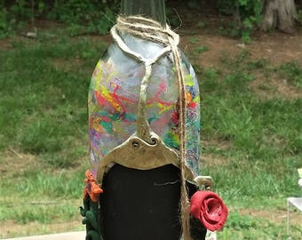 Hand Painted Bottle With Cork - Wine
