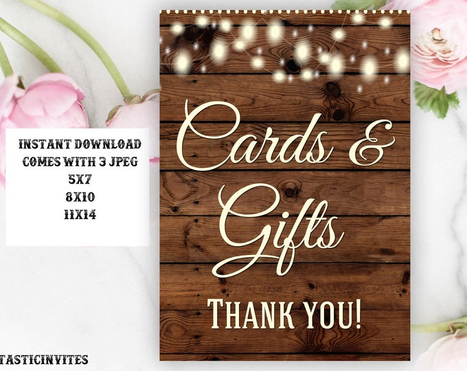 Printable Wedding Sign, Cards and Gifts Sign, Rustic Wedding Sign, Printable Sign, Wedding Sign, Rustic Wedding, Wood Sign, Digital Sign