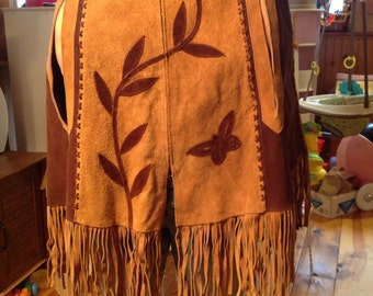 Vintage 1970's Mexican leather flower and butterfly poncho w/ fringe