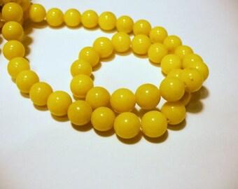 Jade Beads Gemstone Dark Yellow  Round 10MM