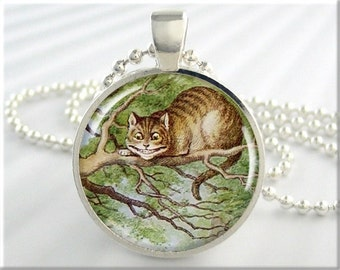 Cheshire Cat Necklace, Alice In Wonderland, Resin Charm, Picture Jewelry, Fantasy Art Charm, Round Silver, Gift Under 20 (275RS)