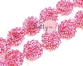 RED QUATREFOIL Shabby Rose Trim- Shabby Flowers- 1/2 Yard or 1 Yard- Shabby Chiffon Trim- Wholesale Shabby Flowers