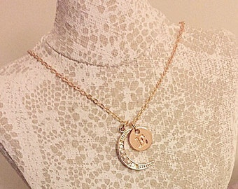 18k rose gold plated chain with rhinestone, pearl half moon and initial charm necklace.