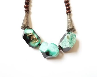 Green Agate, Brass and Wood Beaded Necklace