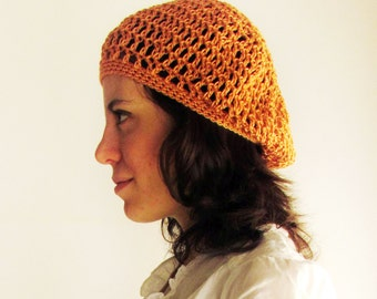 Summer slouchy hat, peach, hand crocheted lacy hat.