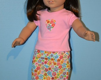 Sophisticated Casual American Made Skirt Set Fits 18 Inch Girl Dolls-Cute Floral Skirt Print- Heart on Pink Shirt-Fun Shopping Outfit!