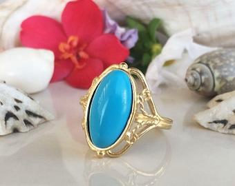 Turquoise Ring - December Ring - Oval Ring - Promise Ring - Gold Ring - Gemstone Ring - Birthstone Ring - Lace ring - Flower Ring