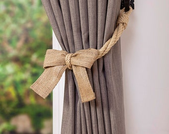 Hemp Rope and Burlap Bow Curtain Tiebacks/ nautical ties/ rope curtain tiebacks/ shabby chic windows / curtain holdbacks/ rope ties/ bow tie
