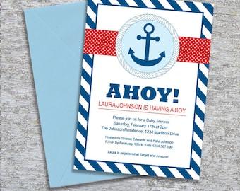 Personalized Anchor Nautical Baby Shower Invitation – DIY Printable  – Baby Boy(Digital File)