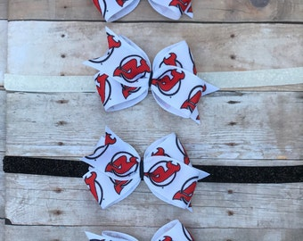 New Jersey Devils Hair Bow // Hockey // NJ Devils // NHL // Hockey // NJ Devils Headband // Devils Bow // Baby Headband // Toddler Clip