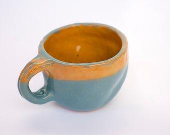 Handmade ceramic coffee, tea cup one piece, pinch pot, ceramic cup, ceramic, ceramics and pottery, Stoneware mug, pottery mug