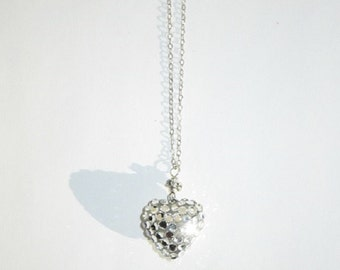 Because you hold my heart.. Dainty  rhinestone necklace on Sterling chain