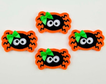 SPIDER - Embroidered Felt Embellishments / Appliques - Orange & Black  (Qnty of 4) SCF3110