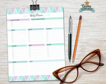 Printable Weekly Planner - Week Life Planner Organizer Editable PDF Instant Download