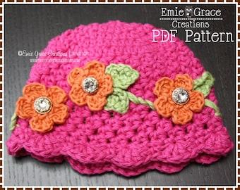 Crochet Flower Hat Pattern, 8 Sizes from Newborn to Adult, MIRIAM - pdf 212