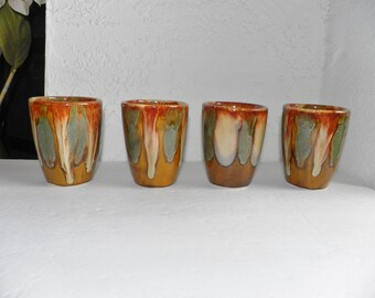 Dryden Drip Pottery Glasses Cups Ozarks Arkansas Studio Tan Blue Green