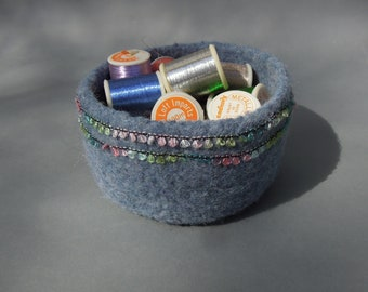 Blue wool felted vessel ribbon accent bowl pot storage