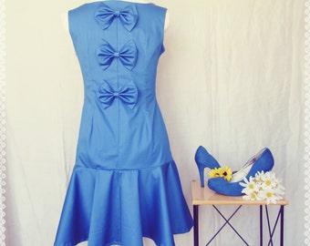 Blue Bow Back Drop Waist Trumpet Dress - Bow Back Dress, Peplum Dress, Drop Waist Dress, OOAK Dress in Size Medium