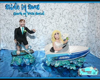 Bride in Speed Boat with Groom on Wake Board, Wedding Cake Topper