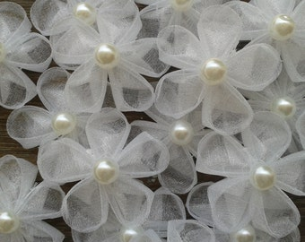 20 pcs white organza kanzashi flowers with pearl centers