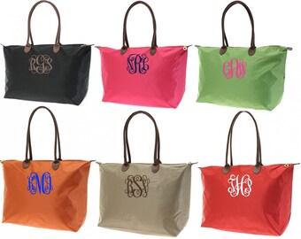 Monogrammed Medium Nylon Tote Bag