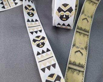 Tribal mask woven fabric trim 1 inch wide sold by the yard