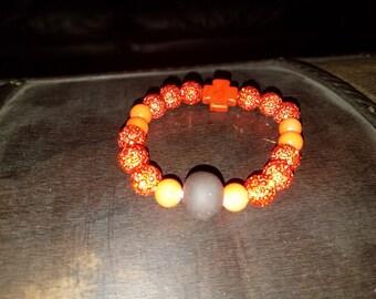 Orange Sparkly Shamballa beaded bracelet