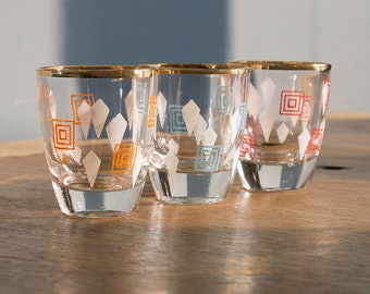 Vintage SHOT GLASSES 70s, Set of 3, with golden trim
