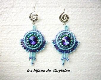 Turquoise purple turquoise embroidered earrings purple