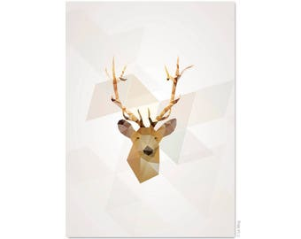 Geometric deer postcard