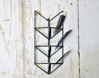 Rustic Decor. Air Planter. Air Plant Wall Holder. Stained Glass Arrow. Glass Shelf. Jewelry Storage.  Geometric Planter.  Air Planter Shelf.