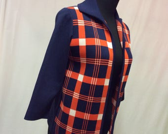 1960's Tartan Plaid Sweater Jacket
