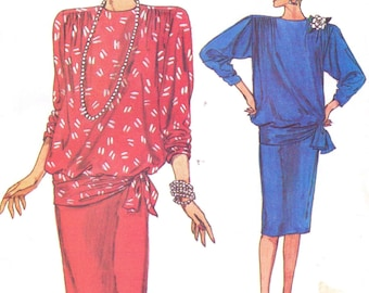 80s Womens Batwing Dropped Waist Top & Skirt Vogue Sewing Pattern 9314 Size 8 10 12 Bust 31 1/2 to 34 UnCut Very Easy Very Vogue Patterns