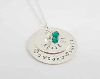 Hand Stamped Layered Discs Necklace - Personalized Jewelry - Granny - Mommy - New Mommy Necklace