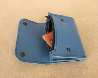 leather wallet. women's wallet. Blue women's wallet. Blue wallet (9/18)
