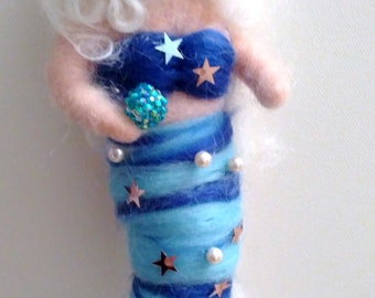 Carded wool mermaid, with stars and applied pearls, inspired by Waldorf pedagogy