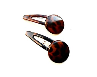 Snap Hair Clip 4 pieces Set Brown French Style Celluloid Acetate Tortoise Shell Round Buttons Hairpins Hair Clip Hair Accessories