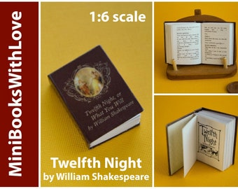 MINIATURE book, Twelfth Night by William SHAKESPEARE, readable 1:6 scale books, dollhouse miniatures
