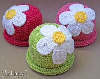 CROCHET PATTERN - Spring Fling - crochet hat pattern, daisy flower hat, crochet beanie pattern (Infant - Adult sizes) - Instant PDF Download