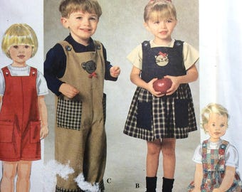 Simplicity 7729 Toddler Boys' and Girls' Jumper and Romper Pattern, Size 2-4, Vintage Uncut Pattern