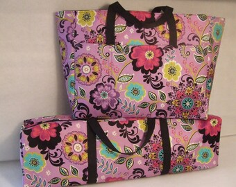 Silhouette Cameo Carrying Case Combo Set/  Accessory Bag/ Cricut Expression Bag/ Scrapbooking Tote Set/ Purple Floral Fabric Print