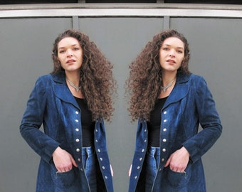 Vintage 1970s Suede Leather Jacket Navy Blue Suede Jacket Snap Front Jacket Oversized Collar Boho Hippie Bohemian 70s Leather Jacket S/M
