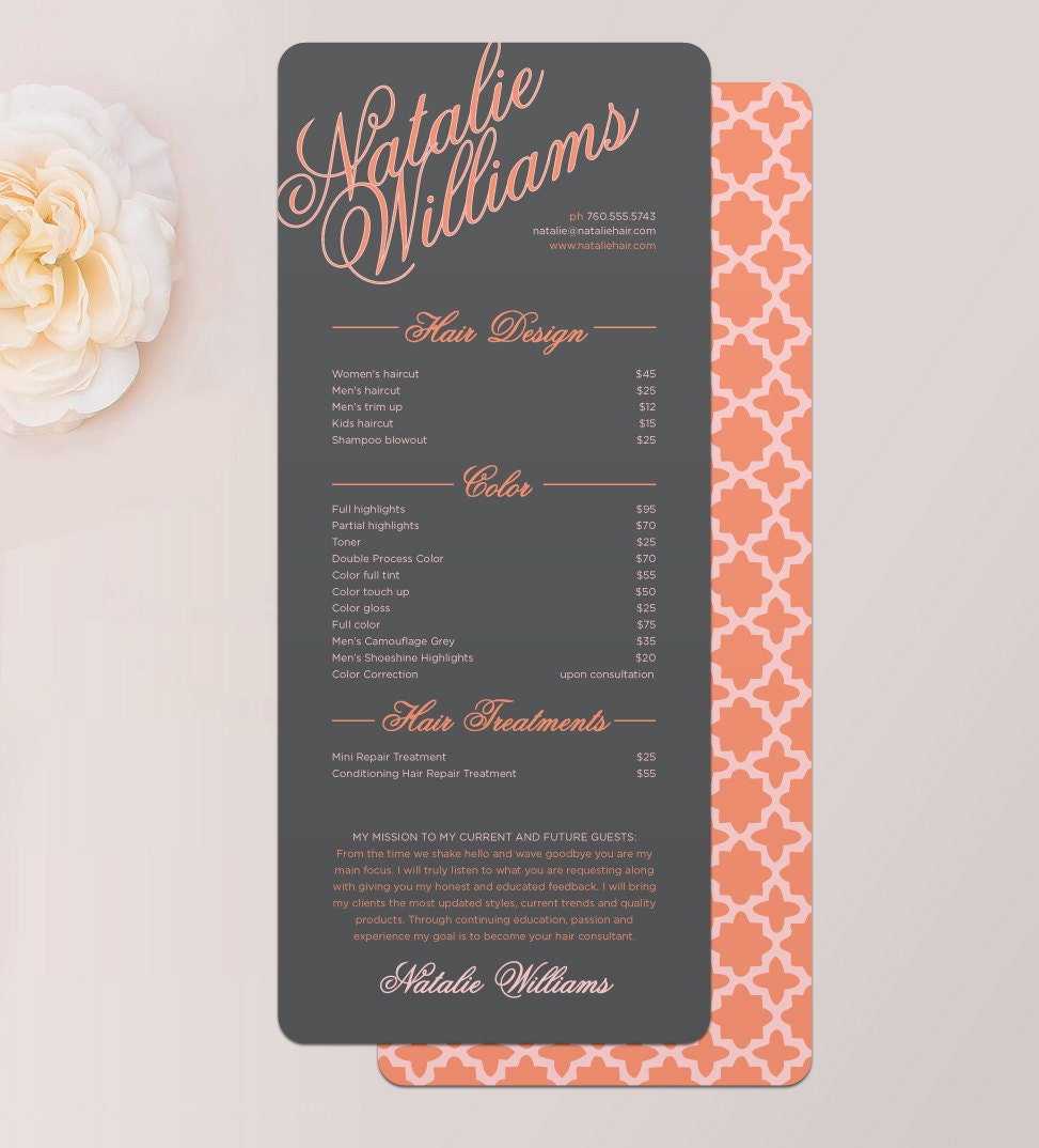 Elegant name hair stylist or barber services menu salon zoom reheart Images